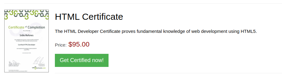 W3 HTML5 Developer Certificate