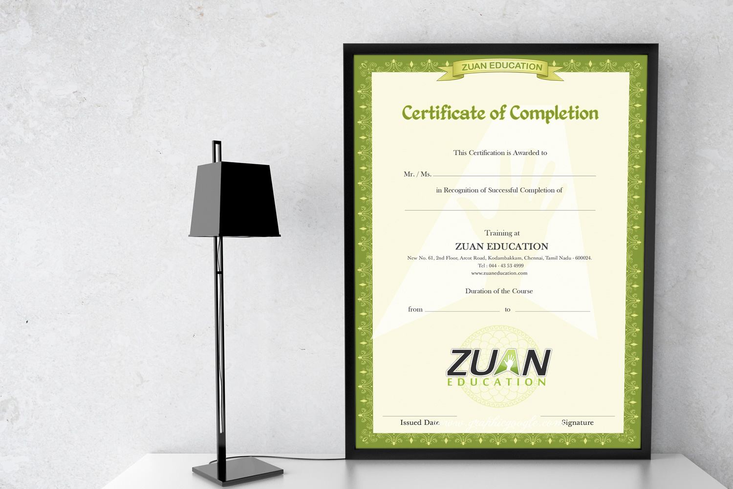 zuan education course completion certificate