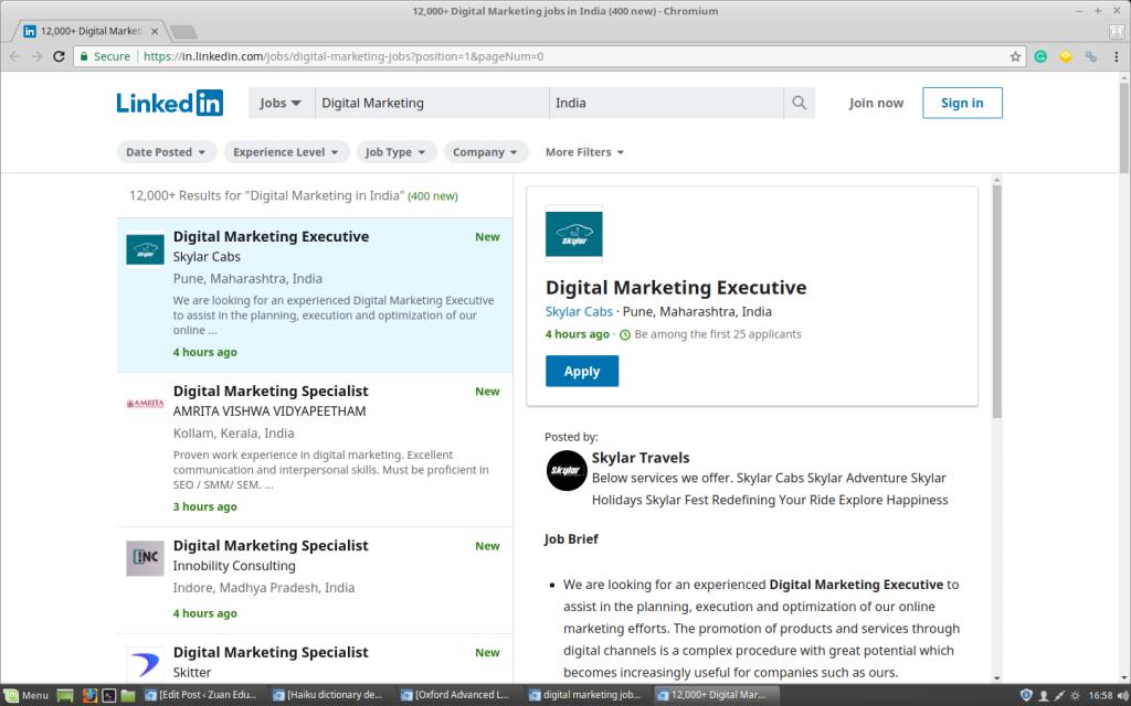 Digital Marketing Jobs on LinkedIn
