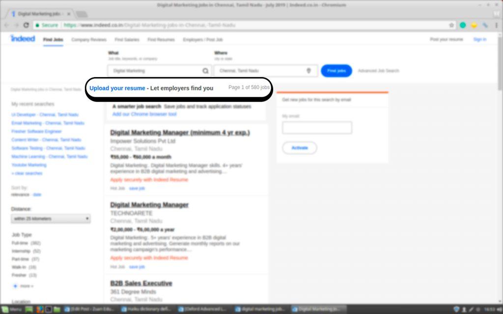 Job Vacancies for Digital Marketing on Indeed