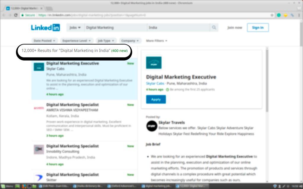 Job Vacancies for Digital Marketing on LinkedIn