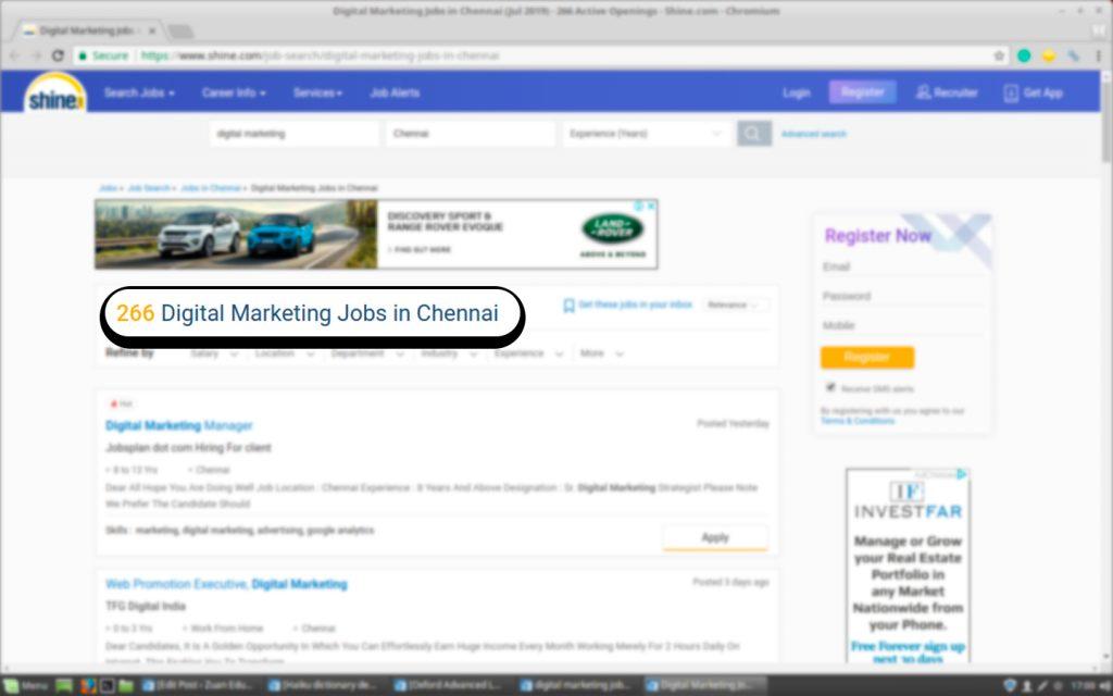 Job Vacancies for Digital Marketing on Shine