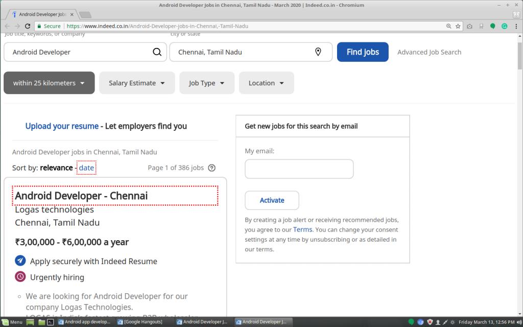 Indeed Job postings for the app developer