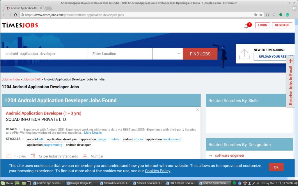 TimesJobs Job postings for the app developer